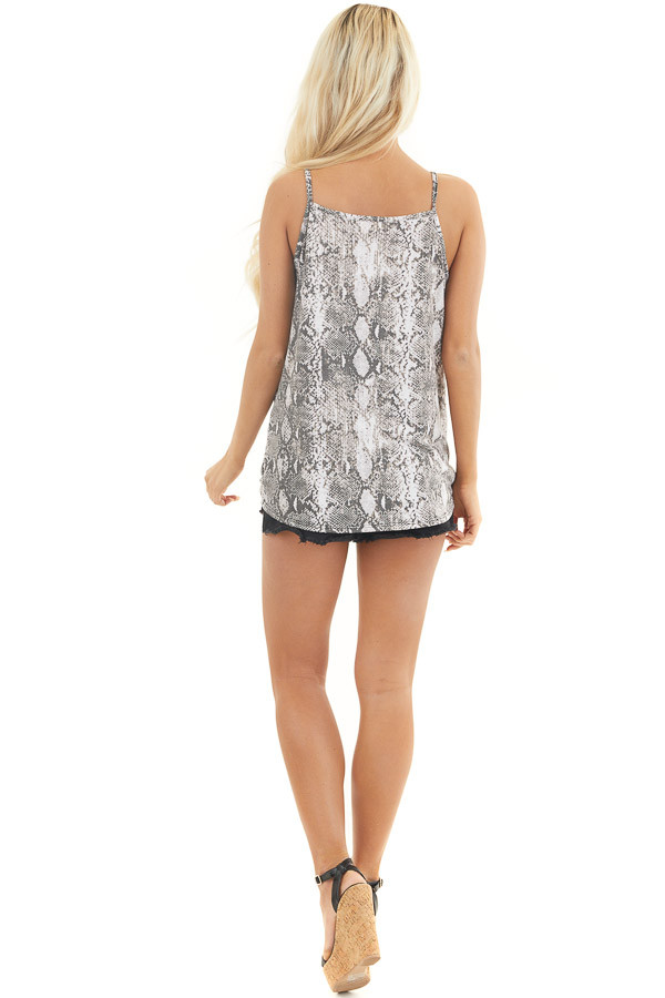Charcoal Snakeskin Print Tank Top with Criss Cross Neckline