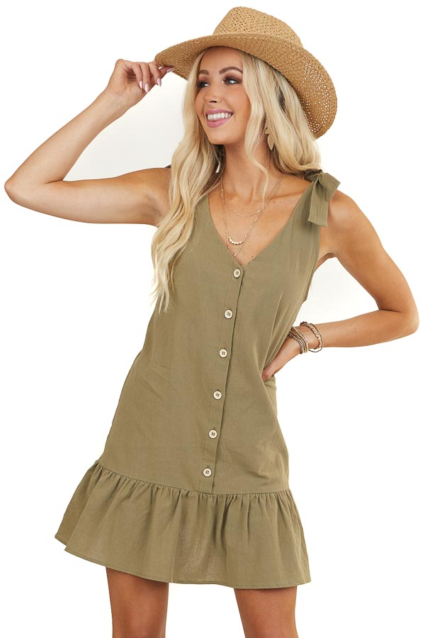 Olive Button Up Dress with Ruffle Hemline and Tie Details