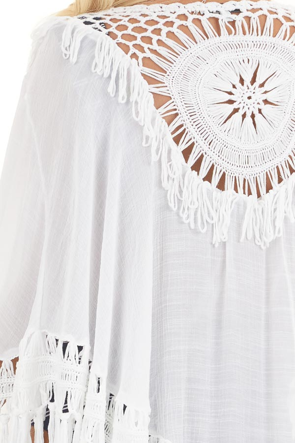 Off White Tasseled Kimono Shawl with Crochet Details