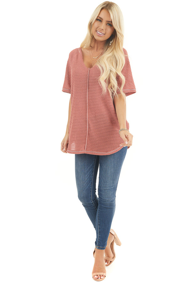 Terracotta Short Sleeve Waffle Knit Top with Raw V Neckline