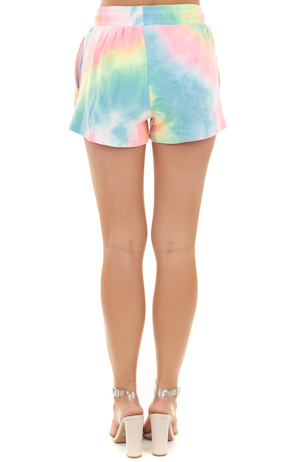 Multicolor Tie Dye Knit Shorts with Waist Tie and Pockets