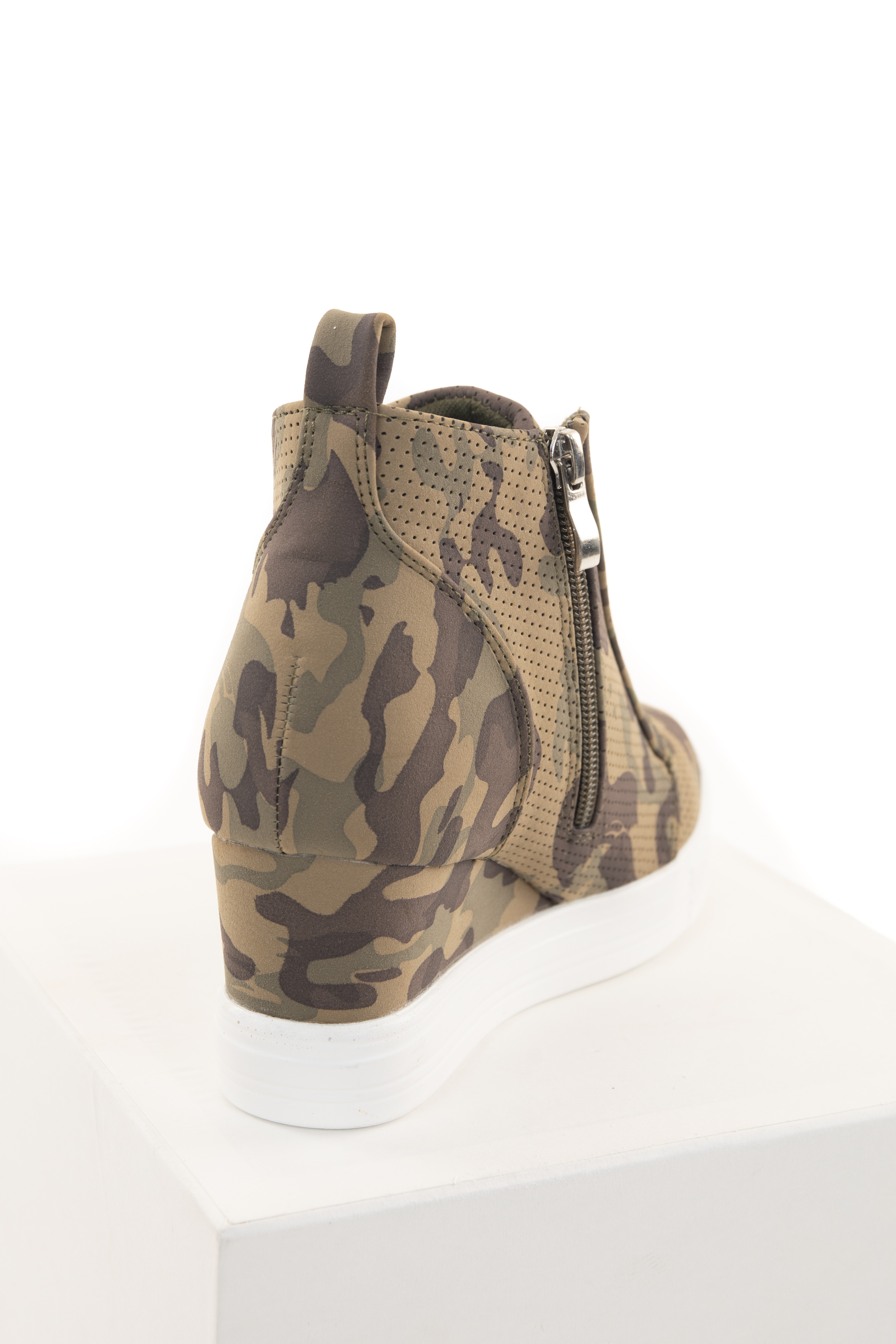 Olive Camo Print Textured Faux Suede Wedge Sneaker