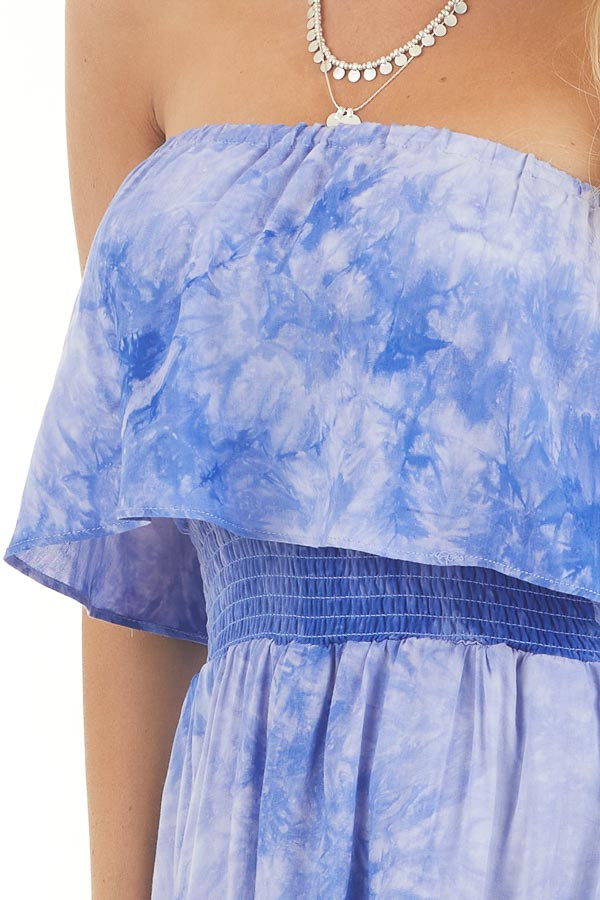 Periwinkle Tie Dye Strapless Maxi Dress with Bust Overlay