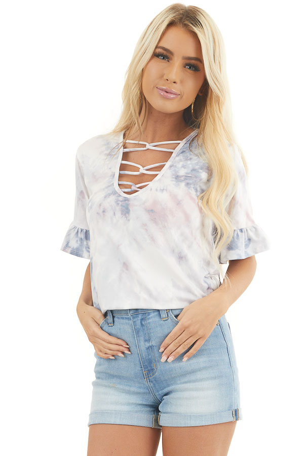 Dusty Blue and Mauve Tie Dye Top with Front Cage Detail