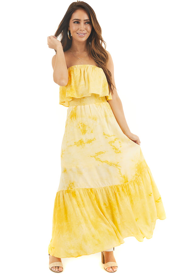 Yellow Tie Dye Strapless Maxi Dress with Bust Overlay