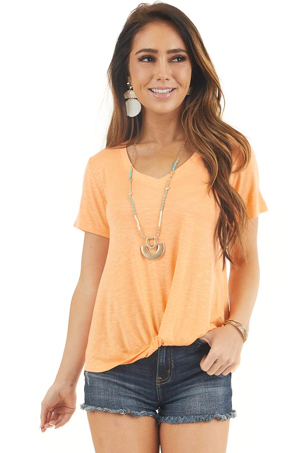 Cantaloupe V Neck Knit Top with Front Twist Detail