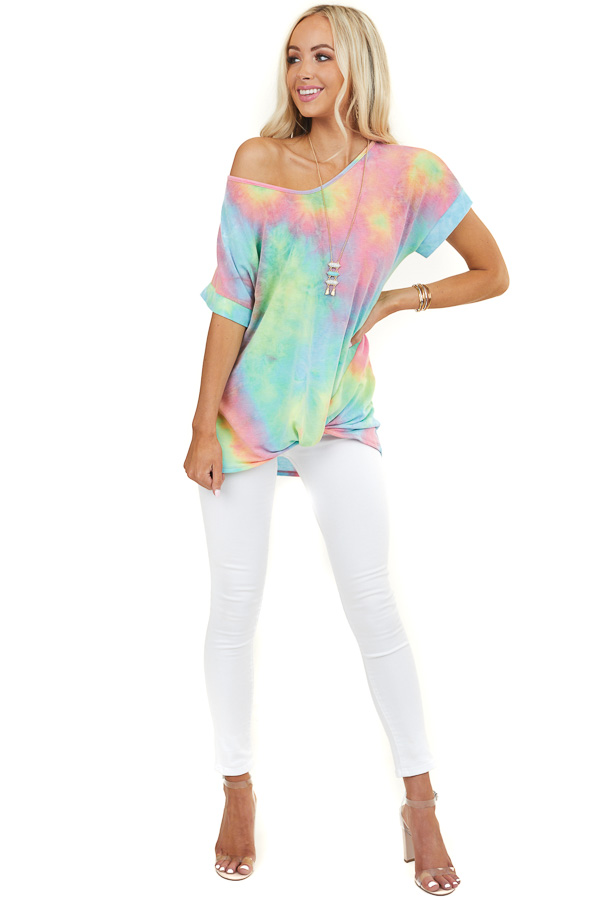 Multicolor Tie Dye Short Sleeve Top with Twisted Front Detail