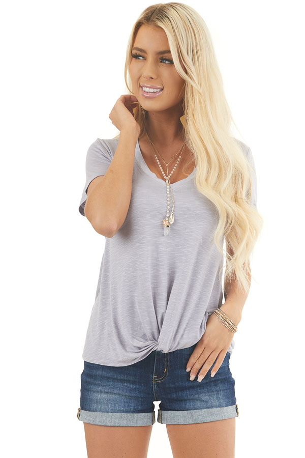 Dove V Neck Knit Top with Front Twist Detail