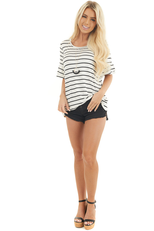 Ivory and Black Striped Top with Short Tiered Ruffle Sleeves