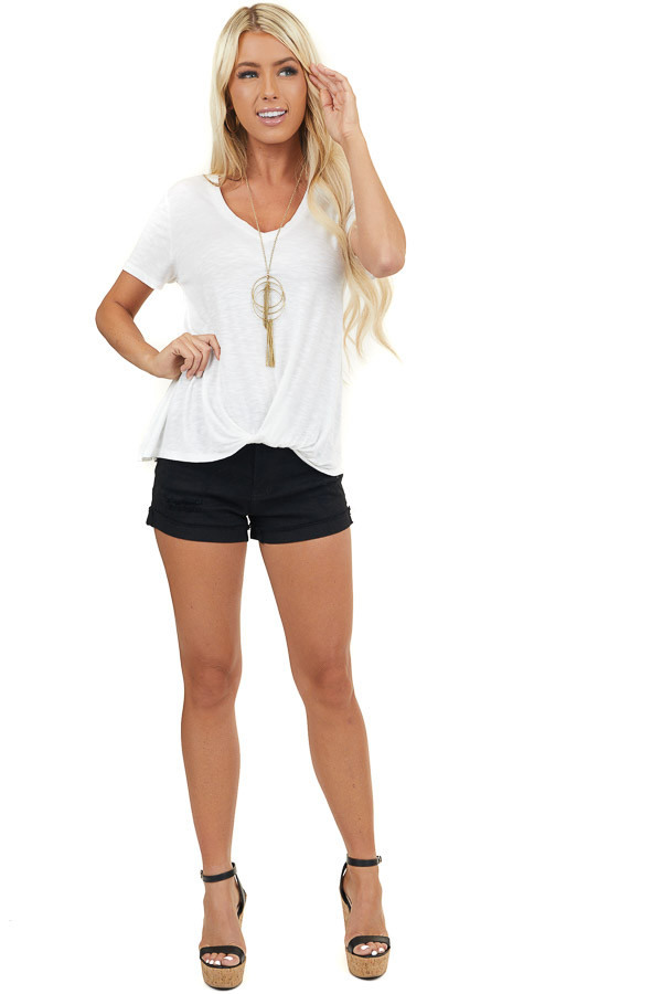 Pearl V Neck Knit Top with Front Twist Detail