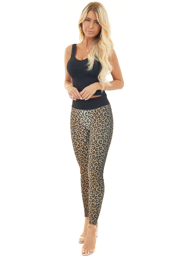 Beige and Black Leopard Print High Waisted Ombre Leggings