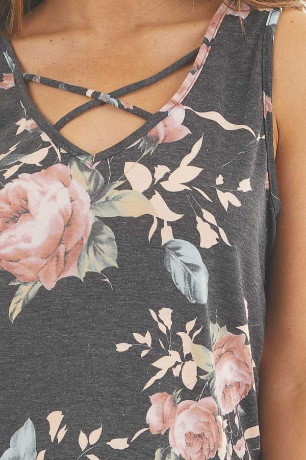 Faded Black Floral Tank Top with Front Criss Cross Detail
