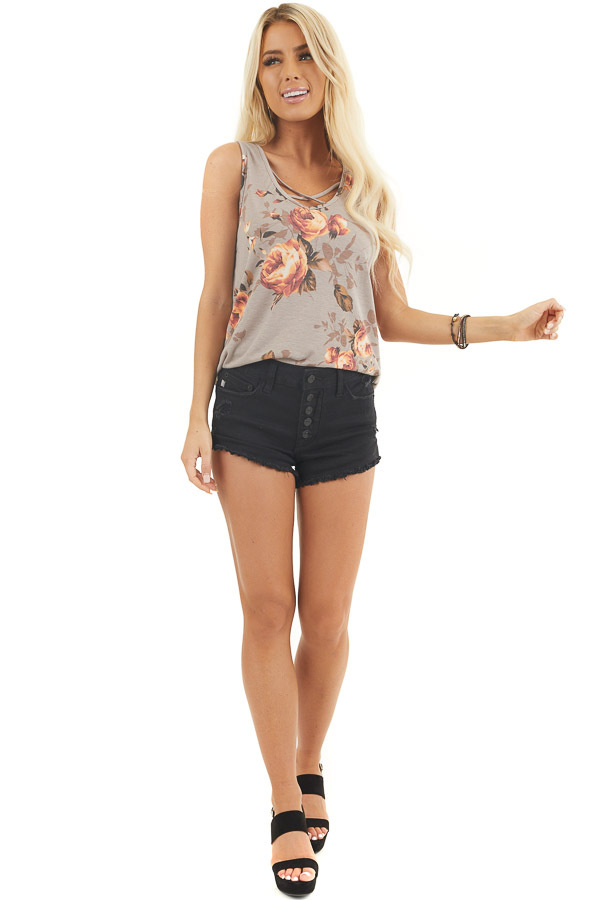 Taupe Floral Tank Top with Front Criss Cross Detail