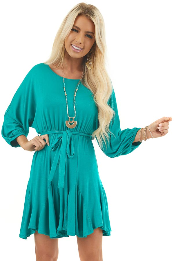 Jade Short Knit Dress with Puff Sleeves and Godet Skirt