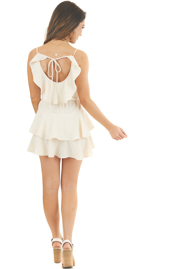 Champagne Tiered Ruffle Dress with Back Cutout