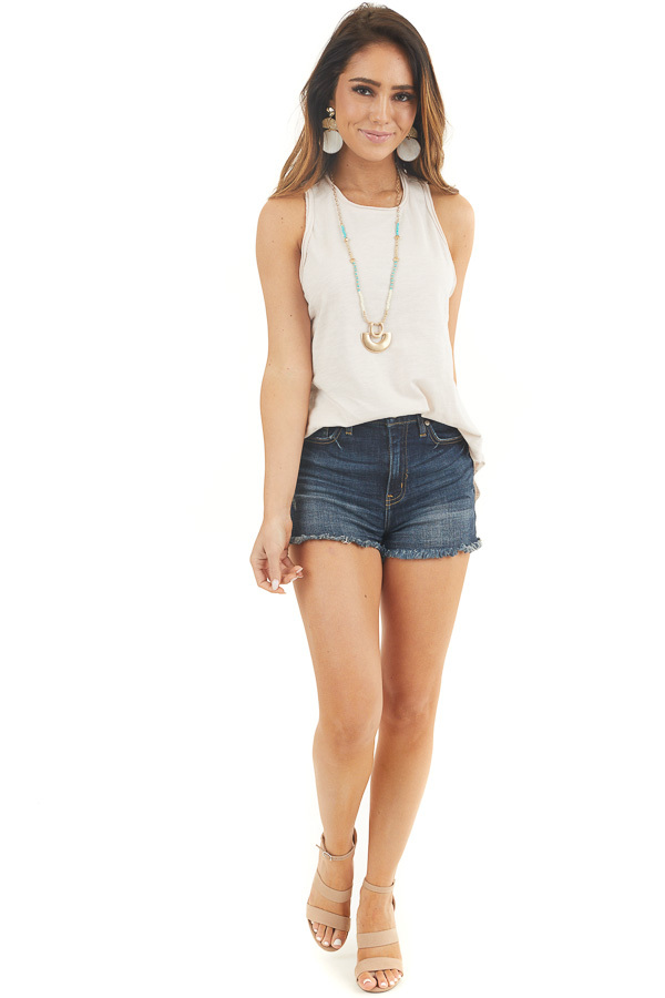 Faded Blush Sleeveless Knit Tank Top with Rounded Hemline