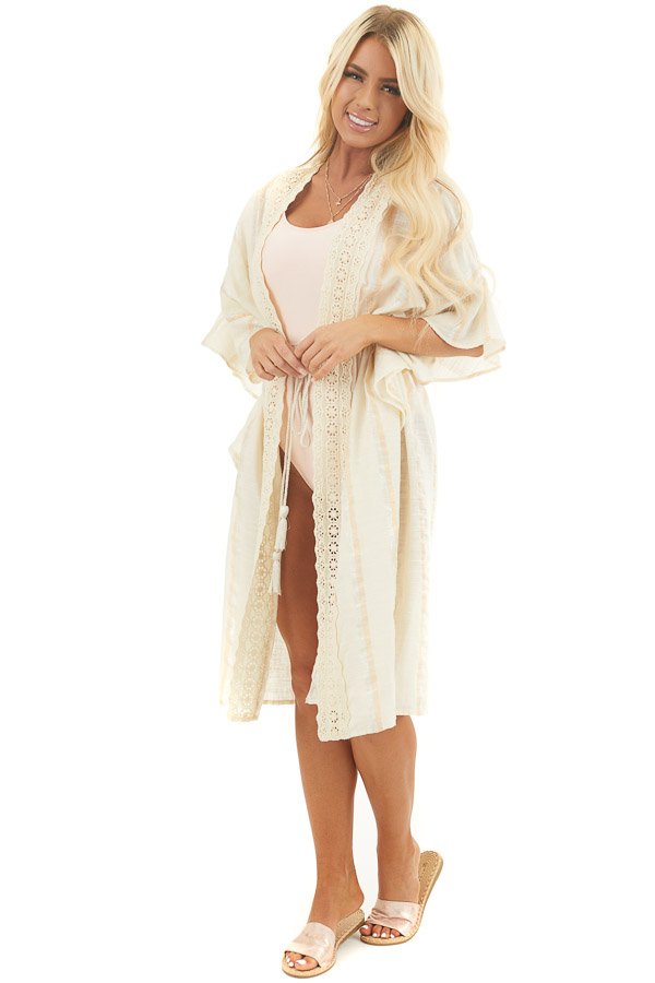 Cream Swim Cover up with Metallic Stripes and Crochet Lace
