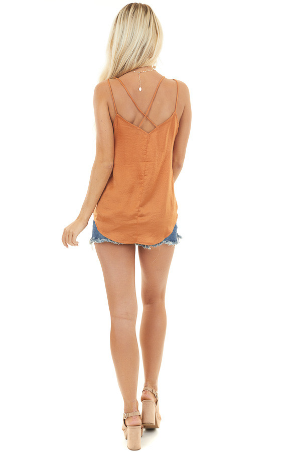Burnt Orange Surplice Camisole Top with Lace Trim