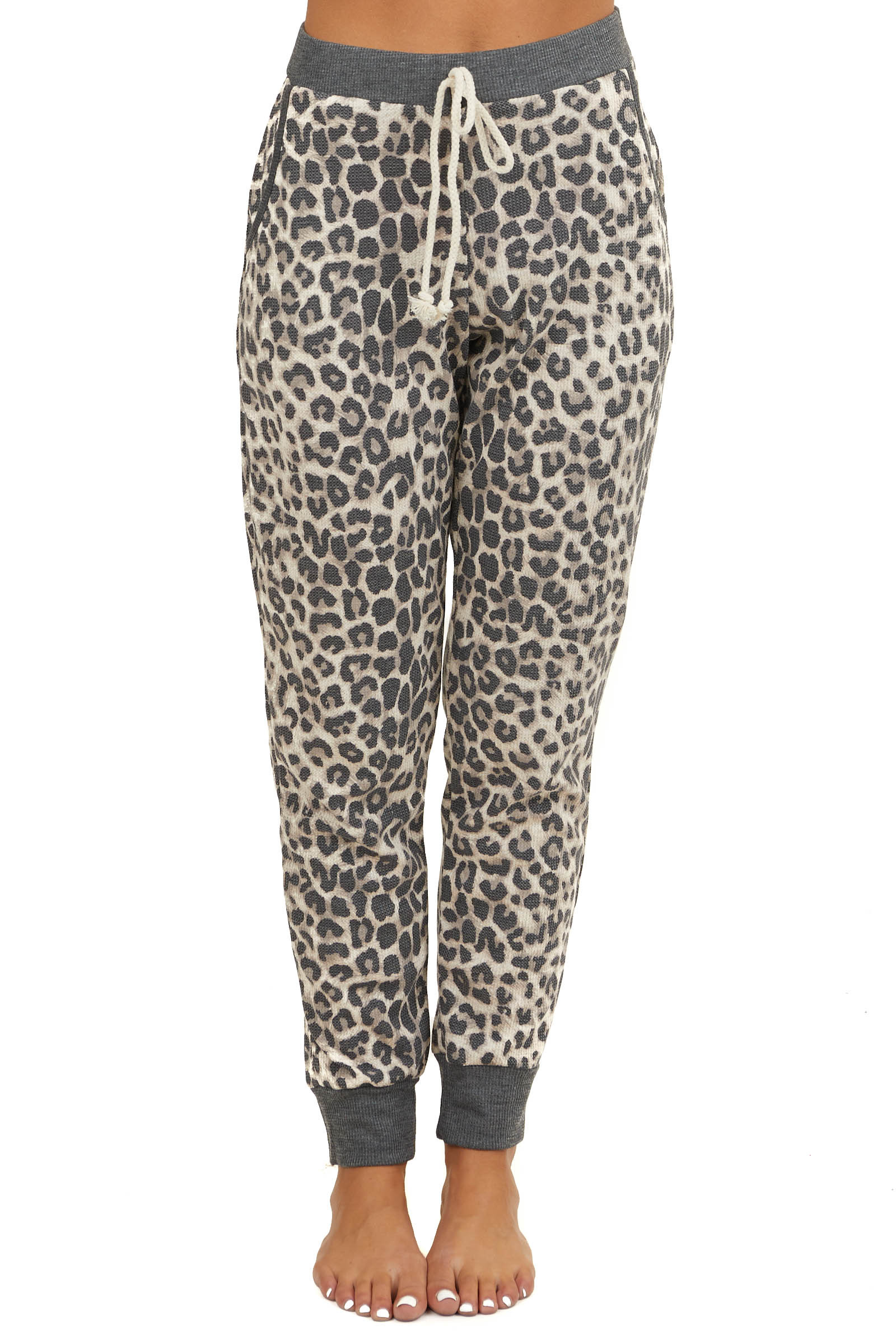 Oatmeal and Charcoal Leopard Print Joggers with Waist Tie