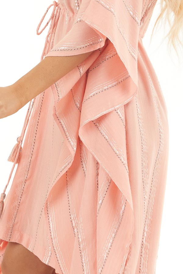 Coral and Silver Striped Swim Cover Up with Drawstring Waist