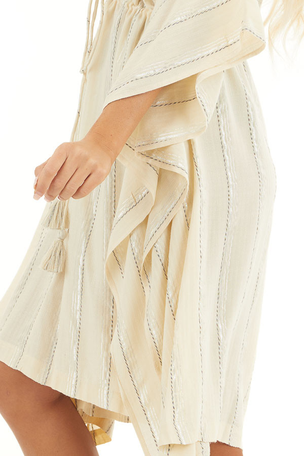 Cream and Silver Striped Swim Cover Up with Drawstring Waist