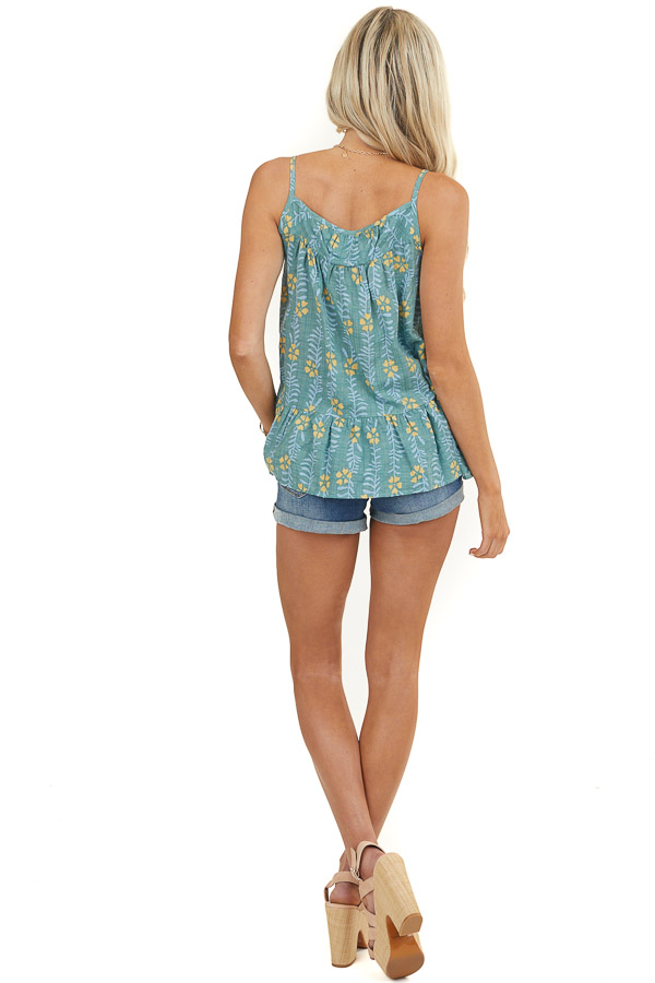 Sage Floral Woven Tank Top with Ruffle Hemline Detail