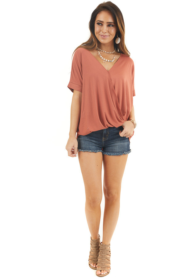 Burnt Orange V Neck Surplice Top with Short Cuffed Sleeves