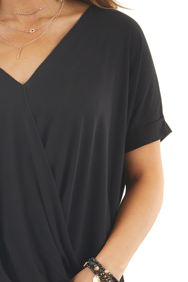 Black V Neck Surplice Top with Short Cuffed Sleeves