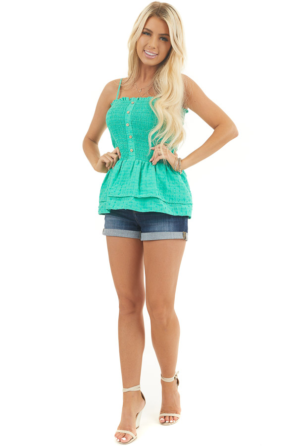 Kelly Green Swiss Dot Smocked Tank Top with Tiered Details