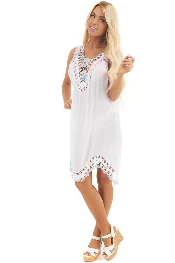 Off White Swimsuit Cover Up with Crochet Multicolor Details