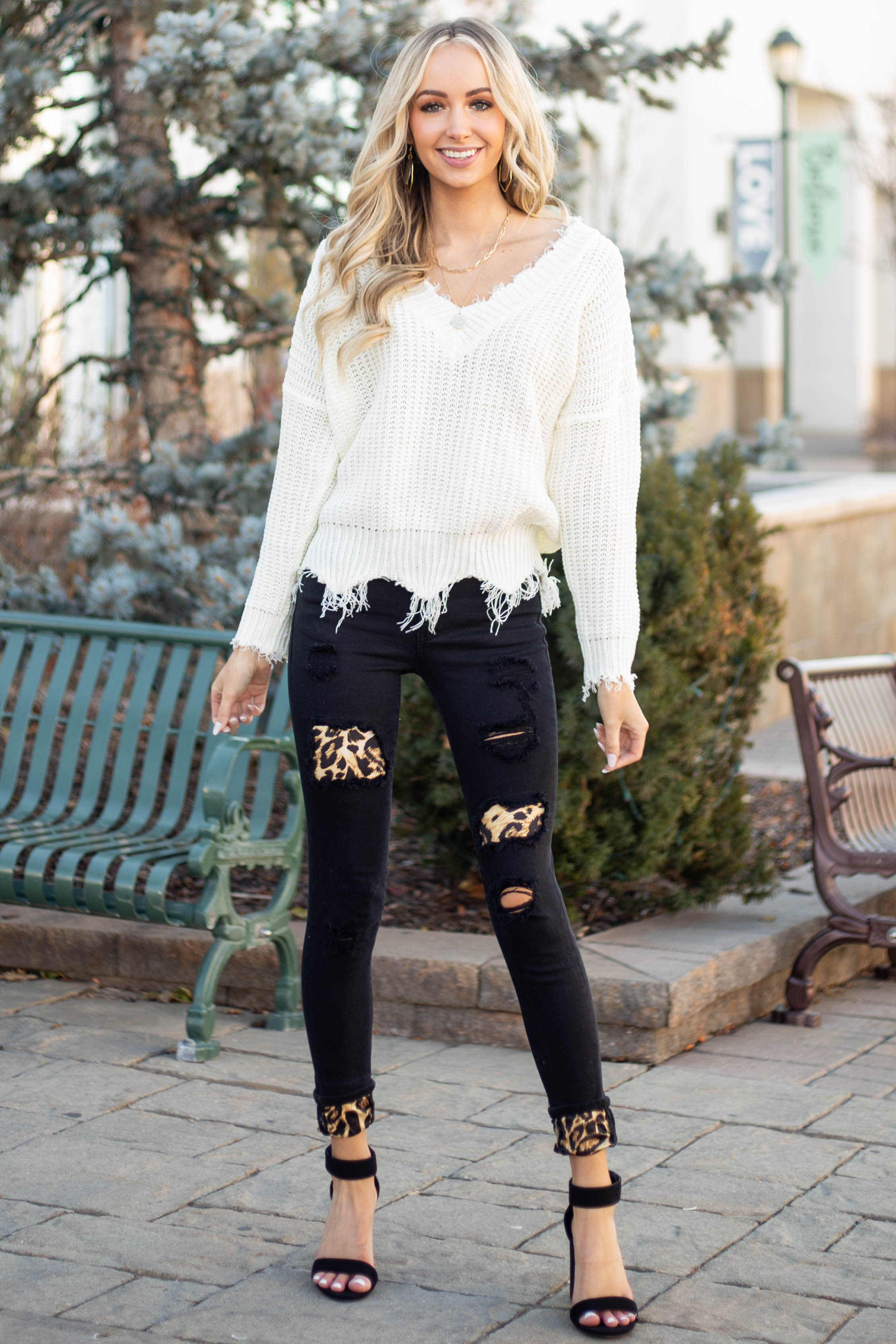 Black Distressed Skinny Jeans with Leopard Patches and Cuffs