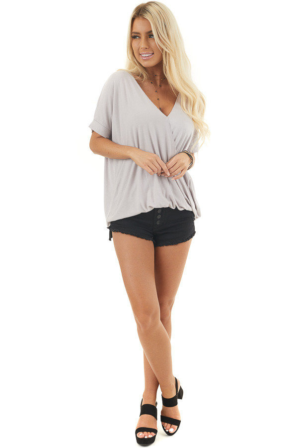 Cloud Grey V Neck Surplice Top with Short Cuffed Sleeves
