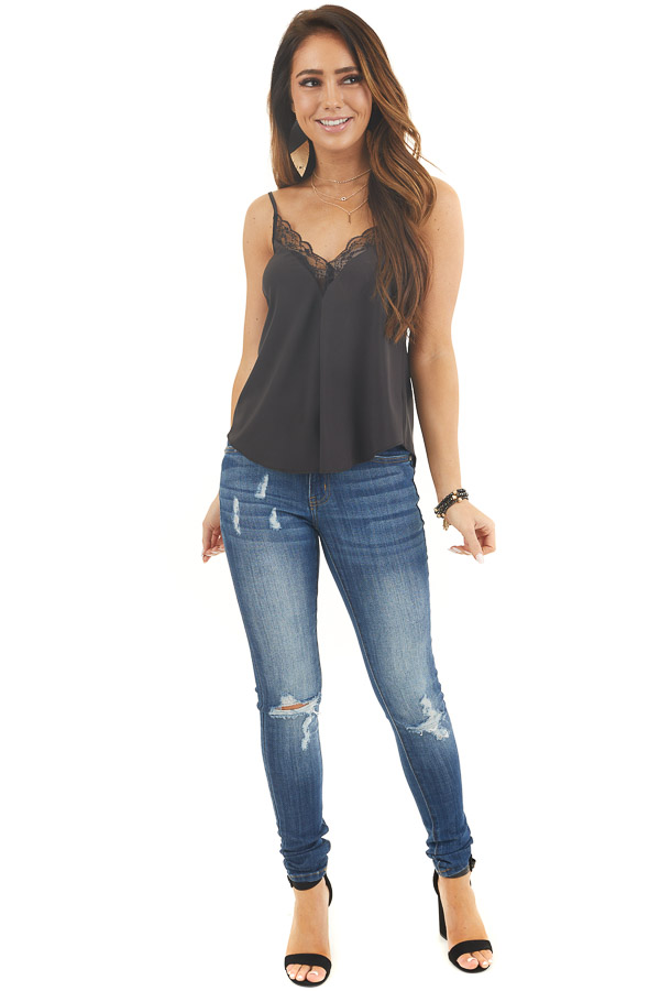 Black Woven V Neck Camisole Top with Lace Details