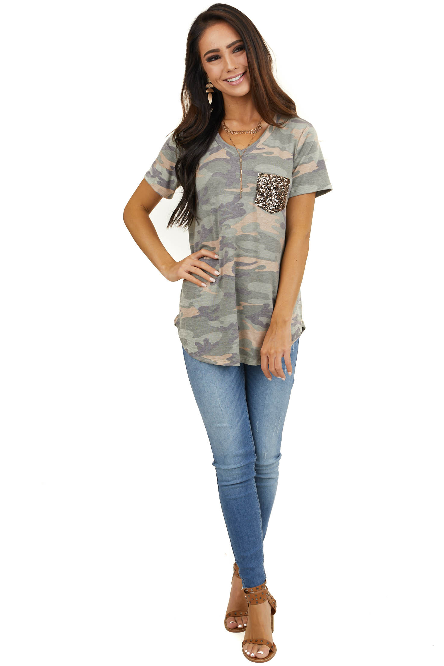 Sage Camo Print Short Sleeve Top with Gold Sequin Pocket
