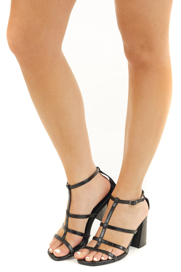 Black Textured Faux Leather Heels with Open Toe and Straps