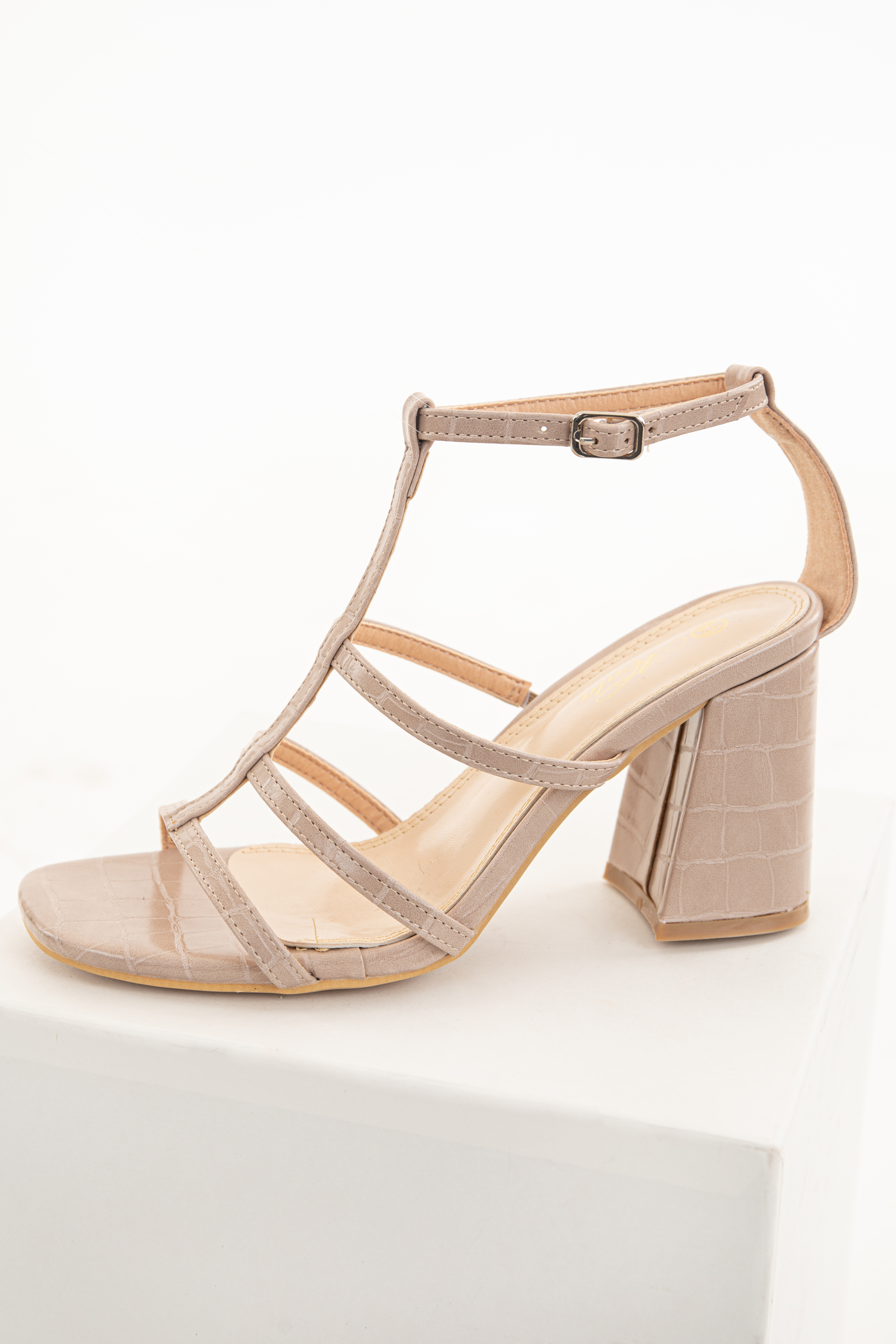 Nude Textured Faux Leather Heels with Open Toe and Straps