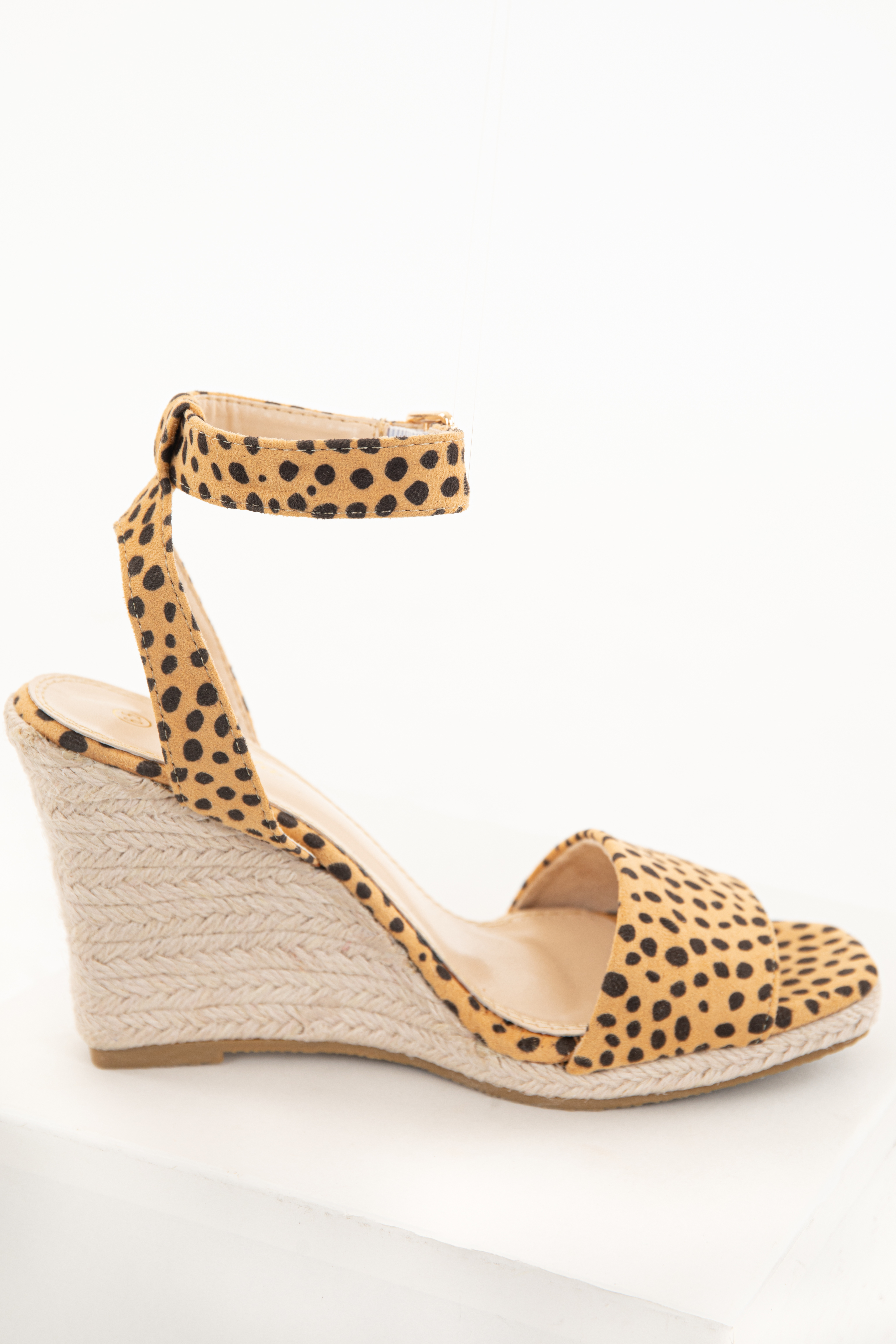 Beige and Black Faux Suede Animal Print Espadrille Wedges