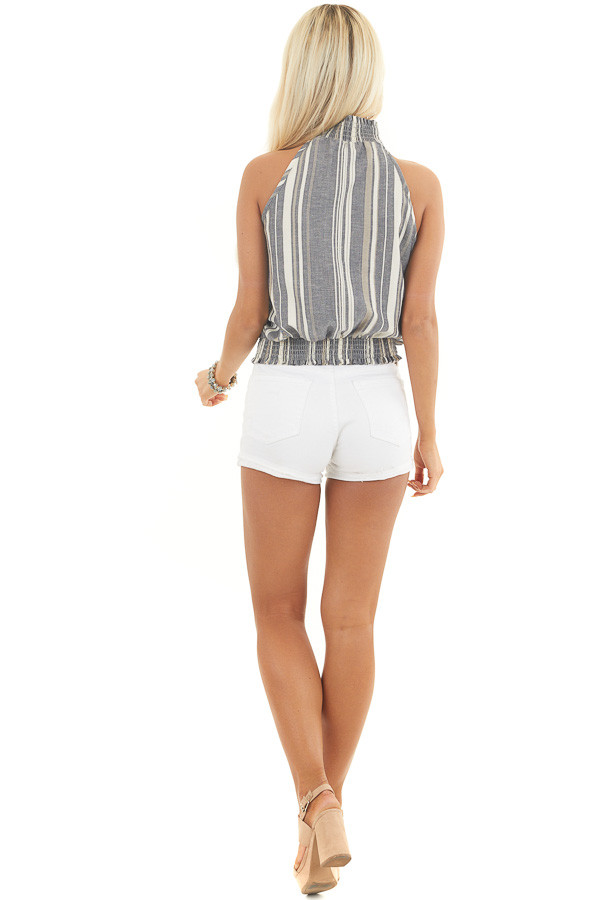 Stormy Blue Striped Sleeveless Woven Top with Mock Neck