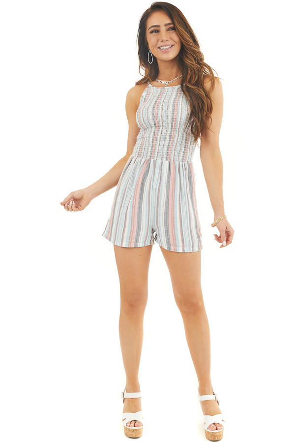 Baby Blue Multicolor Striped Sleeveless Smocked Romper