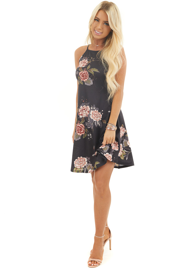 Black Floral Print Sleeveless Knit Dress with High Neck
