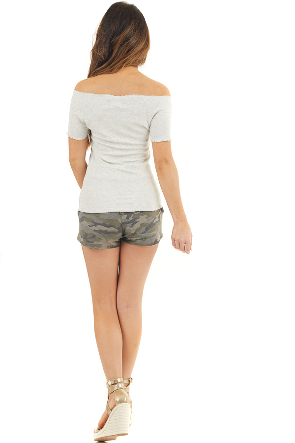 Heather Grey Short Sleeve Ribbed Knit Top with Ruffle Detail