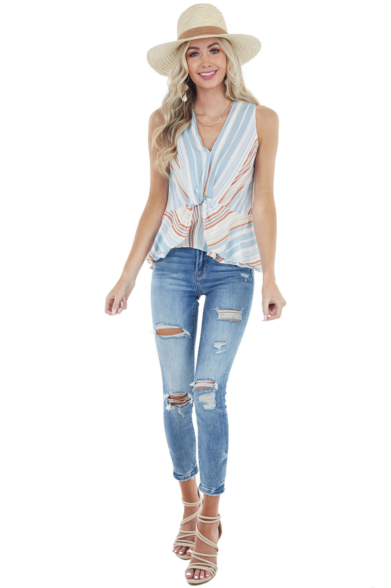 Multicolor Striped Woven Tank Top with Twisted Front Detail