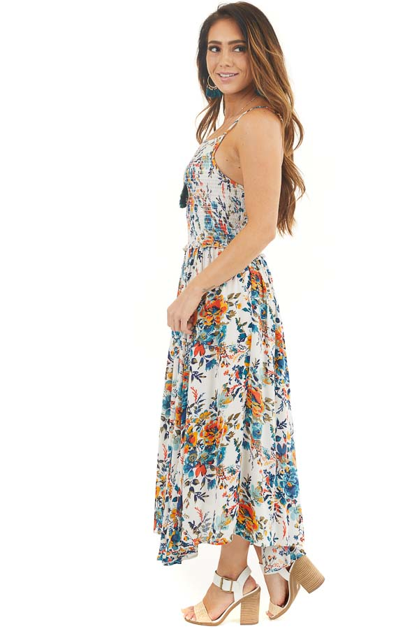 White Blue and Orange Floral Midi Dress with Smocked Bust