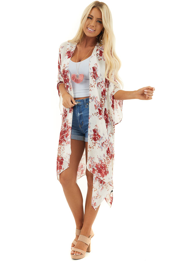 Cream Floral Print 3/4 Length Sleeve Kimono with Side Slits
