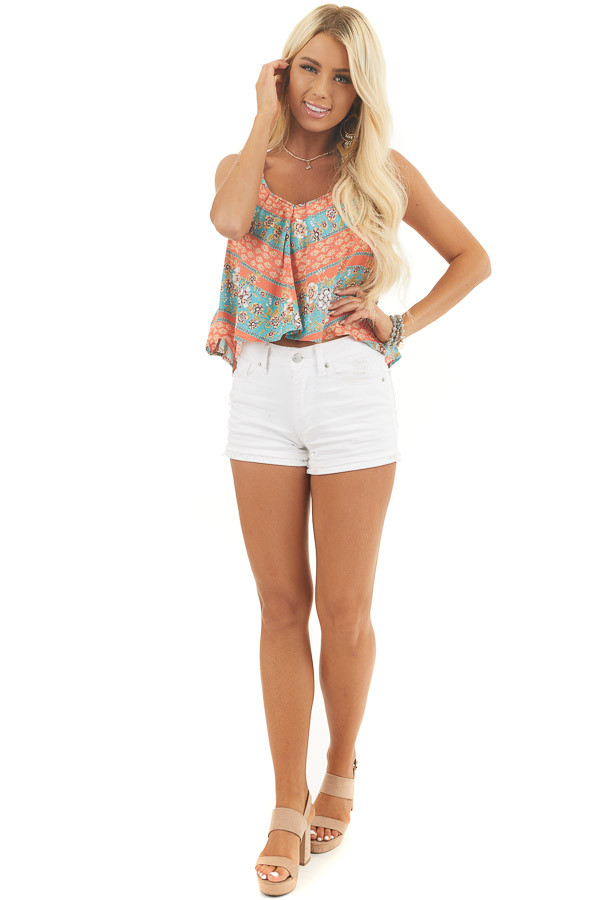 Coral Floral Print Camisole Crop Top with Adjustable Straps