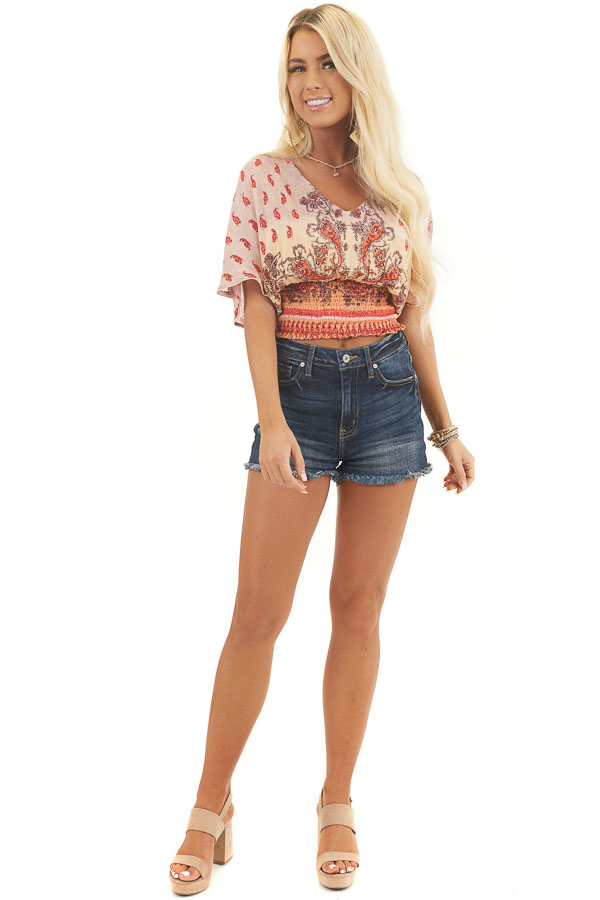 Orange Multicolor Cropped Woven Top with Smocked Hemline
