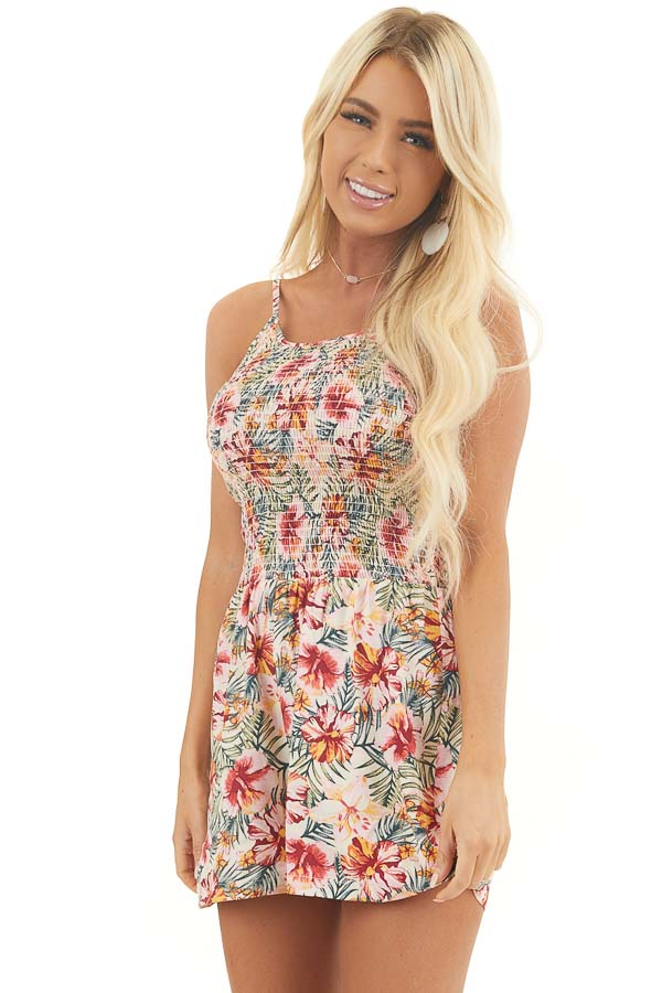 Baby Pink and Cream Floral Print Romper with Smocked Bust