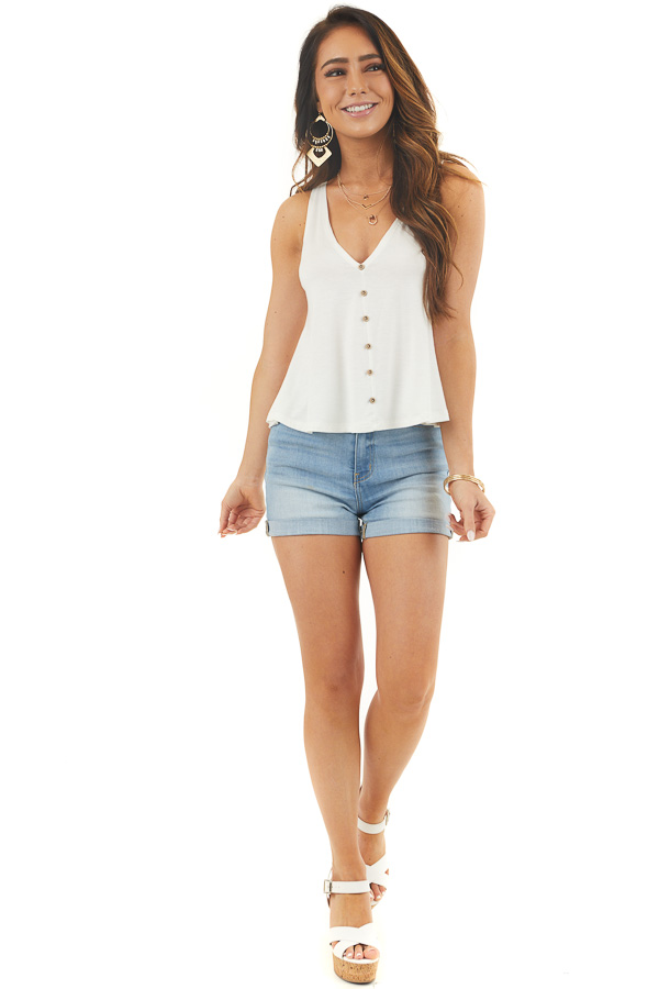 White Knit Tank Top with Low Cut Back and Button Details