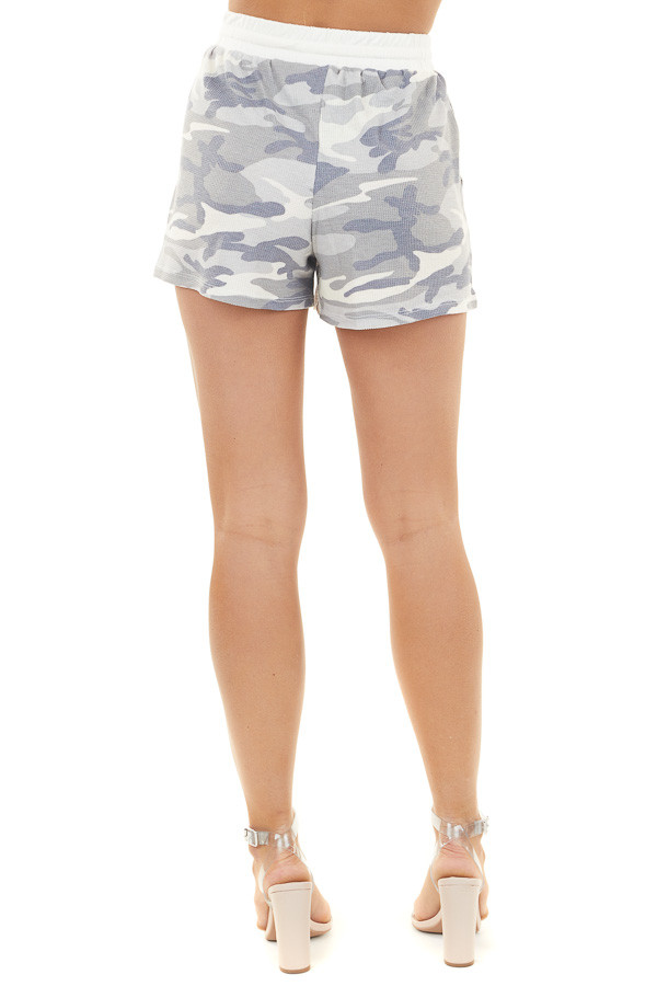 Heather Grey Camo Print Waffle Knit Shorts with Pockets