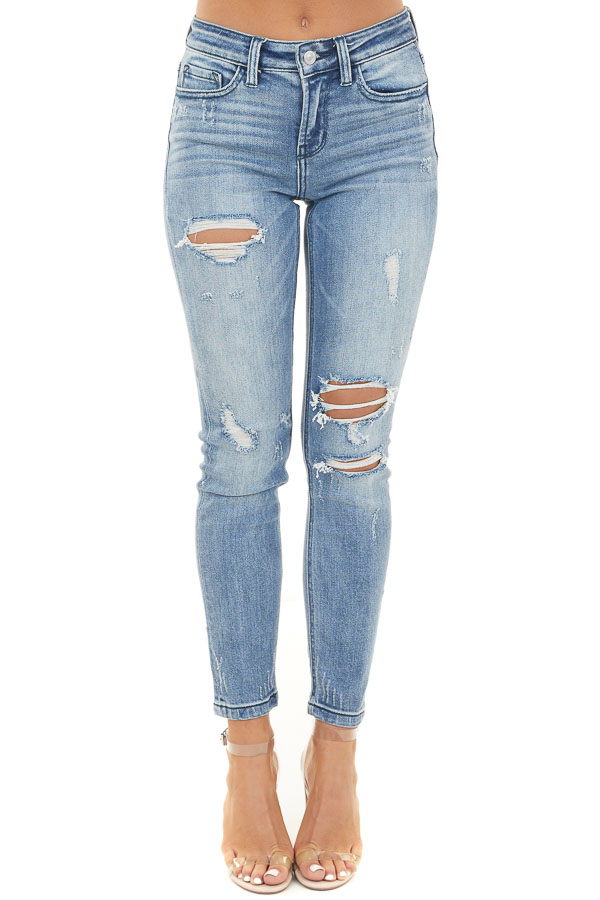 Light Wash Denim Distressed Jeans with Pockets